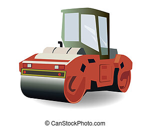 Asphalt compactor - vector Asphalt roller on white...