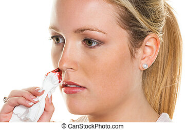 young woman has bleeding noses - a young woman bleeding from...