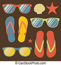 Seamless pattern with flip flops and sunglasses - Pattern...