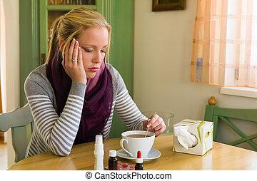 estación, tiene, mujer, gripe, frío