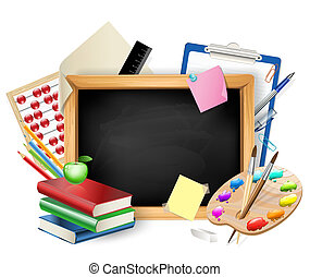 little blackboard as background with pens,pencils,books,apple