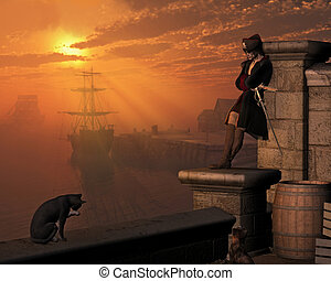 Pirate Captain at Sunset - Pirate captain waiting on the...