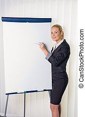 woman with flip chart - a young woman with a flip chart in a...