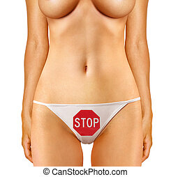 stop sign on female panties - part of woman which is dressed...