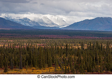 Rugged Fall Landscape - Glaciers, mountain peaks, and fall...