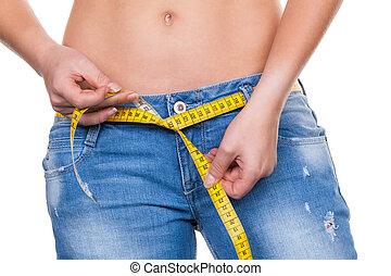mulher, medindo, fita, antes de, logo, dieta