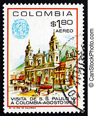 Postage stamp Colombia 1968 Cathedral of Bogota - COLOMBIA -...