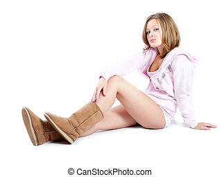 attractive girl in boots