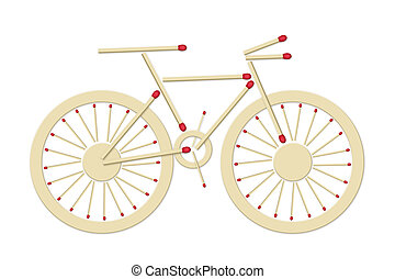 bicycle made of matches - bicycle assembled of red matches,...