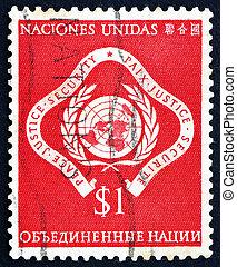 Postage stamp United Nations 1951 United Nations Emblem -...