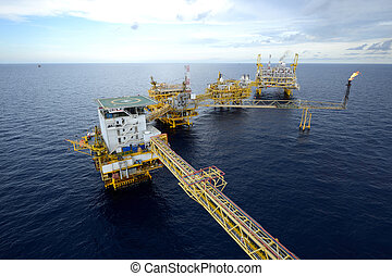 The  large offshore oil rig drilling platform