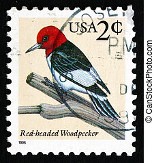 Postage stamp USA 1996 Red-headed Woodpecker, Bird - UNITED...