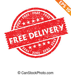 Stamp sticker free delivery collection  - Vector illustration - EPS10
