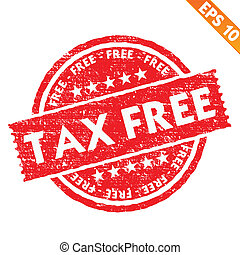 Stamp sticker TAX free collection - Vector illustration -...