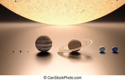 The Solar System blank - A rendered comparison of the Sun...