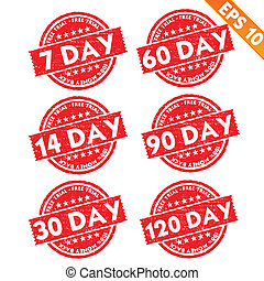 Stamp sticker Free trial collection  - Vector illustration - EPS10