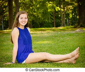 Portrait of happy pre-teen girl