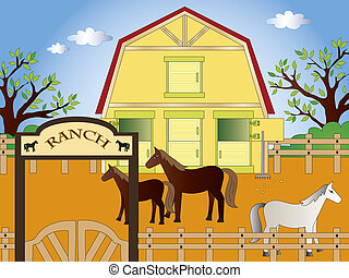 ranch - illustration of ranch with horses