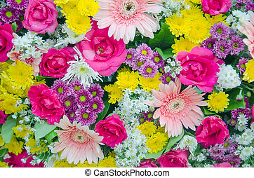 fresh flower - mixed of fresh colorful flower bouquet in...