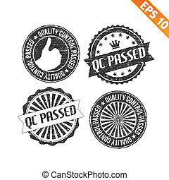 Stamp sticker QC Pass collection - Vector illustration -...