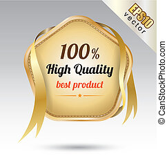 tag star embroidery gold ribbon - vector business concepts...