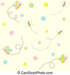 Seamless pattern with cute insects and flowers