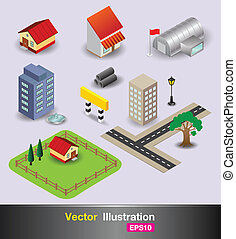 object town - vector business concepts element object...