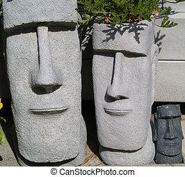 Easter Island Garden Planters 2 - Two Easter Island garden...
