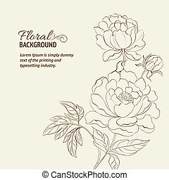 Peonies ink background Vector illustration