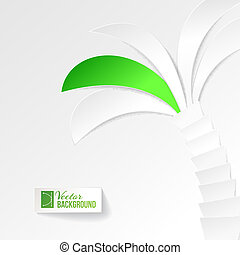 Palm tree on white background, origami. Vector illustration,...