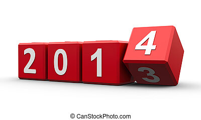 Red cubes 2014 - Red cubes with 2013-2014 change on a white...