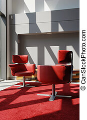 Two Red Seats In A Meeting Room