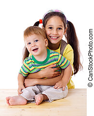 Kinder, zwei, zusammen, glücklich