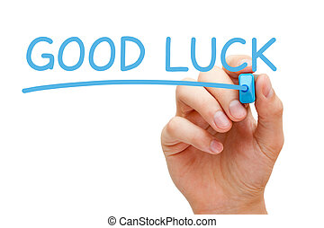 Good Luck - Hand writing Good Luck with blue marker on...