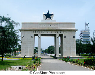 Freedom and Justice Arch in Accra in Ghana - Front view of...
