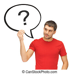 man with text bubble and question mark - picture of man with...