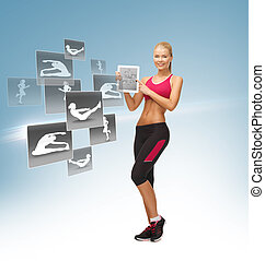 woman with tablet pc and virtual application - sporty woman...