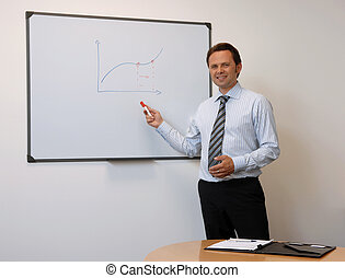 Business Man Explaining A Graph