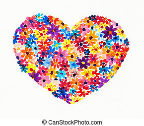 Heart made from flowers .Picture created with watercolors.