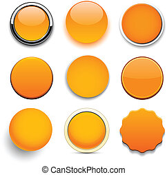 Round orange icons - Set of blank orange round buttons for...