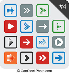Flat arrow icons - Vector illustration of plain square arrow...