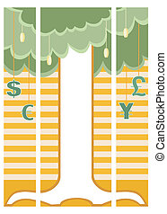 Money tree on triple banner - Three separated banners of...