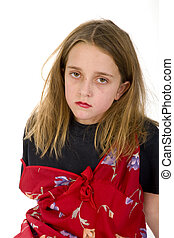 Abused child with ragged hair in the studio