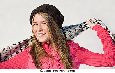 Girl With Scarf - Teenage Girl Wearing Hat and Scarf