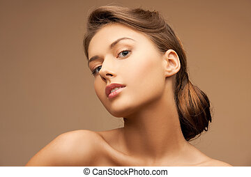 young woman - close up of clean face of beautiful young...