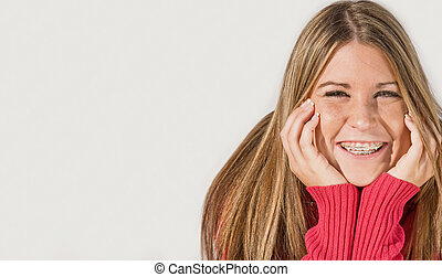Teenage Girl Smiling - Teenage Girl with Long Hair Smiling