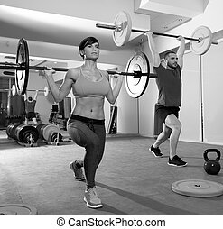 Crossfit, Fitness, Gymnase, poids, levage, barre, groupe