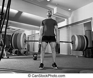 lourd, barre, crossfit, poids, Gymnase, Fitness, séance...