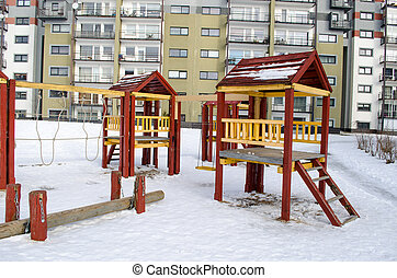 playground wooden red houses swing rope winter - playground...