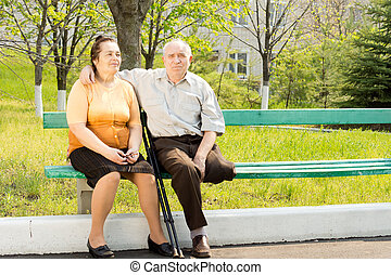 Elderly couple on a park bench - Elderly couple sitting...